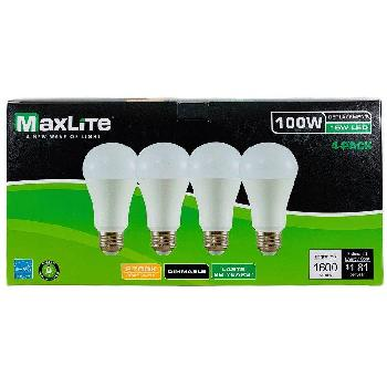 "Maxlite 4pk LED Bulb 15 (100W Equivalent)-Dimmable [Soft White] - <span style=""color:red"">AS LOW AS $ 2.15 For 4  Bulbs</span>"