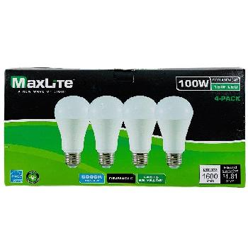 "Maxlite 4pk LED Bulb 15W ( 100W Equivalent)-Dimmable [Daylight] - <span style=""color:red"">AS LOW AS $ 2.15 For 4  Bulbs</span>"
