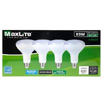 "Maxlite 4pk LED Bulb 8 W( 65W Equivalent) -Dimmable [Daylight] - <span style=""color:red"">AS LOW AS $ 2.15 For 4  Bulbs</span>"