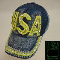 Denim Hat with Bling *Glow in the Dark [USA]