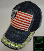 Denim Hat with Bling *Glow in the Dark [Flag]