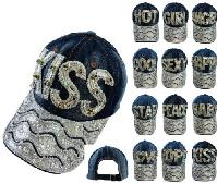 Denim Hat with Bling [Colored Gem] Assortment