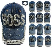 Denim Strapback Hat with Bling Studs Assortment