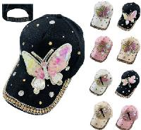Ladies Bling Hat with Sequin Butterfly/Dragonfly