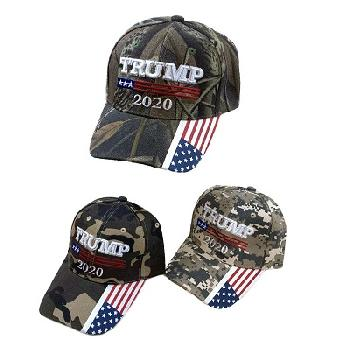 Camo TRUMP 2020 with Flag on Bill  - Trump Hat
