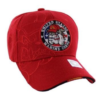 Licensed US Marine Corps Seal Hat [Bulldog Shadow] Red