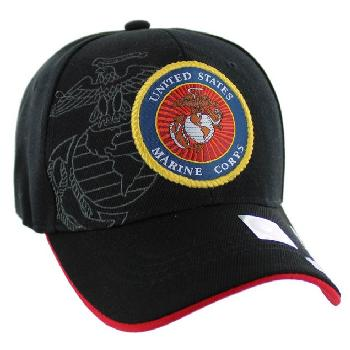 Licensed Black US Marine Corps Seal Hat [Globe&Anchor Shadow]