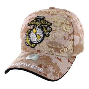 Licensed Globe & Anchor Hat with Shadow [Camo]