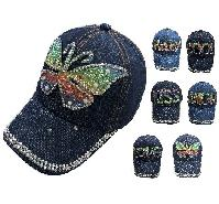 Youth Denim Hat with Bling [Assortment] 21 1/4""