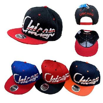 Snap Back Flat Bill Hat [Jagged Script CHICAGO]