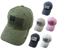 Solid Color Hat with Embroidered Flag