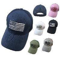 Solid Color Hat-Soft Jersey Mesh Back with Embroidered Flag