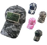 100% Cotton Ripstop Camo Hat with Embroidered Flag