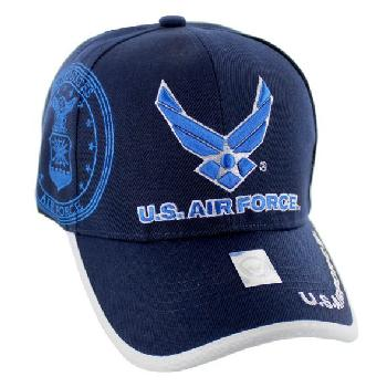 Licensed Blue US Air Force (Wing Logo) Hat [Shadow Seal]