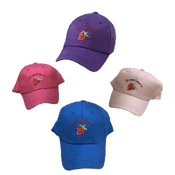 Girl's Embroidered Ball Cap [Strawberry]
