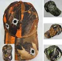 Camo Hardwood Hat with Bullet Holes