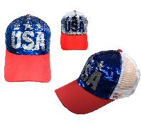 Reversible Sequin Mesh Baseball Cap [USA]