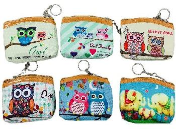 "4.5""x3.5"" Zippered Change Purse [Owls]"