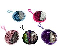 "4.25"" Round Reversible Sequin Change Purse"