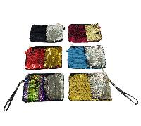 "8.5""x6"" Reversible Sequin Purse with Wrist Strap"
