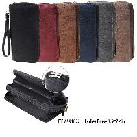 Ladies Dual Zipper Wallet with Wrist Strap [Leather Design]
