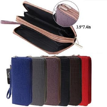 Ladies Dual Zipper Wallet with Wrist Strap [Textured Design]