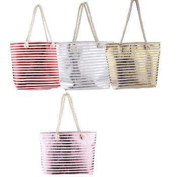 Fashion Tote Bag-Metallic Stripes with Rope Handle