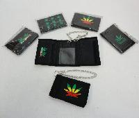Trifold Wallet with Chain [Marijuana]