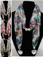 Scarf Necklace-Butterfly Print w/ Heart End Charms 70""