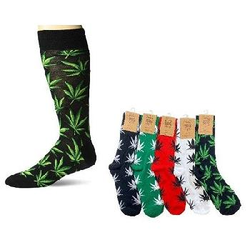 1pr Crew Socks-4 Colors [Colorful Marijuana] 10-13