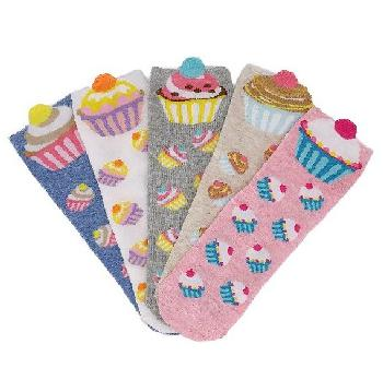 1pr Ladies/Teens Thin Casual Quarter Socks 7-11 [Cupcakes]