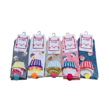 1pr Ladies/Teens Thin Casual Socks 7-11 [Cupcakes]