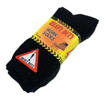 3pr Heavy Duty Work Socks 10-13 [BLK/GRY/NVY]