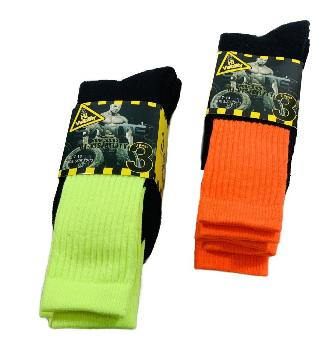 3pr Men's Neon Work Socks [High Visibility] 10-13