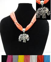 Short Scarf Necklace--Scrollwork Elephant