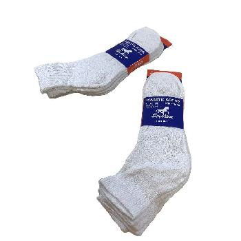 3pr Diabetic Quarter Socks 10-13 [White]