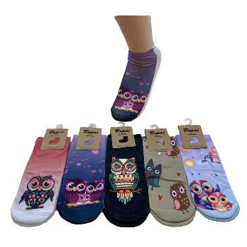 1pr Ladies/Teens Thin Casual Socks 9-11 [Owls]