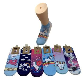 1pr Ladies/Teens Thin Casual Socks 9-11 [Unicorn]