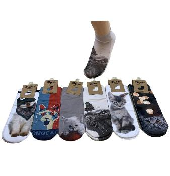 1pr Ladies/Teens Thin Casual Socks 9-11 [Cats]