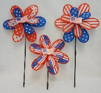 "14"" Double Wind Spinner--Americana Flower"