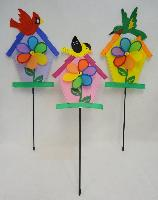 "8"" Flower Wind Spinner in Birdhouse with Bird"