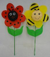 "12.5"" Ladybug/Bumblebee Flower Petal Wind Spinner with Leaves"
