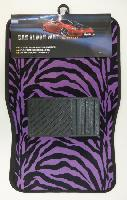 4pc Car Mats-Black & Purple Zebra Print