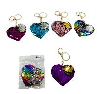 Reversible Sequin Key Chain [Heart]