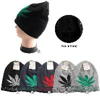 Plush-Lined Knit Beanie [CANNABIS/Large Leaf]