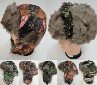 Aviator Hat with Fur Trim--Camo