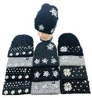Knitted Cuffed Hat with Rhinestones