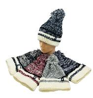 Knitted PomPom Hat [Variegated with Off-White Cuff]