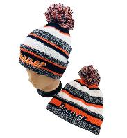 Knitted Hat with PomPom [Embroidered DENVER] Stripes