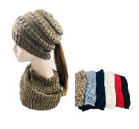 Knitted Pony Tail Beanie/Neck Warmer Combo